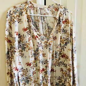 WAYF Floral Shirt with Tie